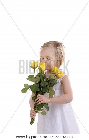 Mothers Day Little Girl With Bouquet Of Yellow Roses