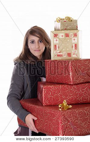 young woman with lots of christmas presents