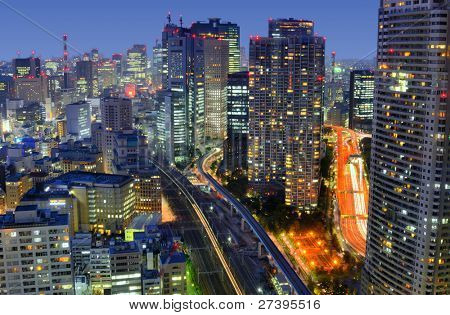Tokyo cityscape in Minato Ward in Japan