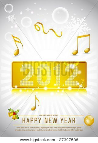 2012 New Year Celebration background for cover, flyer or poster with glitter elements