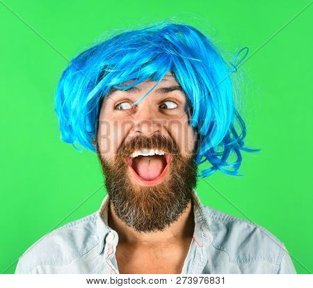 Funny Bearded Man Wearing Blue