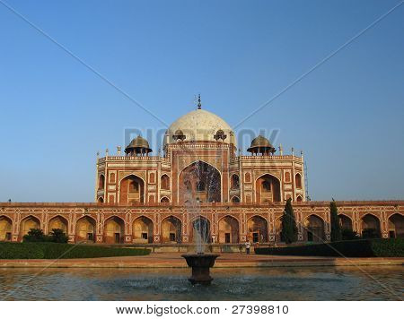 Tomb of Humayun in Delhi with clear blue sky