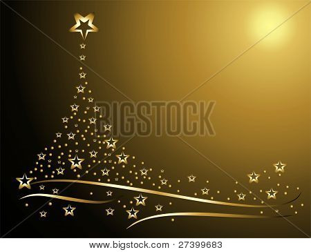 Card with gold winter tree