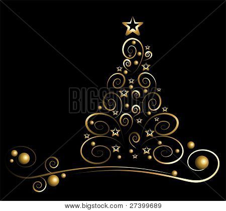 Black card with gold christmas tree
