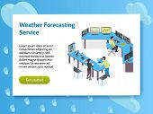 Isometric Meteorological Weather Center Concept Banner With Weather Forecasting Service Headline And poster