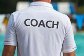 Back View Of Swimming Coaches, Wearing Coach Shirt, Working Together At An Outdoor Swimming Pool poster