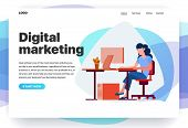 Web Page Design Templates For Digital Marketing, Consulting, Seo, Business Solutions. Modern Vector  poster