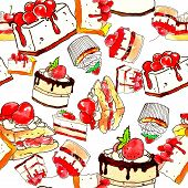 Cake, Dessert, Chocolate And Pastry, Dessert With Fruit. Seamless Pattern On White Background poster