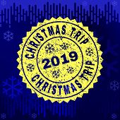 Grunge Round Christmas Trip Rosette Stamp Seal For 2019 Winter. Vector Christmas Trip Rubber Waterma poster