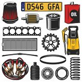 Car And Auto Engine Spare Part Icons. Vector Motor Oil, Gear And Engine Gasket, Bearing, Serpentine  poster