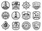 Nautical Badges With Sea Anchor, Ship And Helm. Vintage Sailing Boat, Rope And Yacht, Spyglass, Comp poster