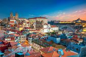Porto, Portugal. Aerial Cityscape Image Of Porto, Portugal With The Porto Cathedral And Old Town Dur poster