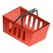Empty Red Shop Basket Icon. Isometric Of Empty Red Shop Basket Vector Icon For Web Design Isolated O poster