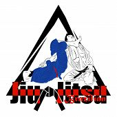 Vector Image Of Two Fighters Of The Brazilian Ju-jitsu. Wrestling Reception: Leg Choke. Mma. Octagon poster