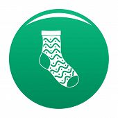 Nice Sock Icon. Simple Illustration Of Nice Sock Vector Icon For Any Design Green poster