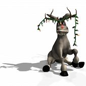 stock photo of humbug  - goofy christmas donkeywith a string of christmas lights hanging from his antler hat - JPG