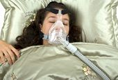 stock photo of cpap machine  - Using CPAP machine - JPG