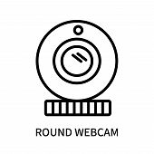 Round Webcam Icon Isolated On White Background. Round Webcam Icon Simple Sign. Round Webcam Icon Tre poster