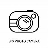 Big Photo Camera Icon Isolated On White Background. Big Photo Camera Icon Simple Sign. Big Photo Cam poster