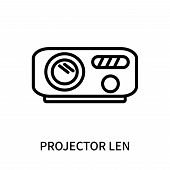 Projector Len Icon Isolated On White Background. Projector Len Icon Simple Sign. Projector Len Icon  poster