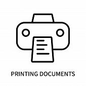 Printing Documents Icon Isolated On White Background. Printing Documents Icon Simple Sign. Printing  poster