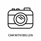Cam With Big Len Icon Isolated On White Background. Cam With Big Len Icon Simple Sign. Cam With Big  poster