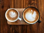 Piccolo Latte Art Coffee Cup And Cappuccino  Cup On The Wooden Table. Choose Your Cup. Love Coffee , poster
