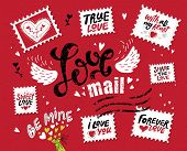 Set Love Mail, Hand-drawn Lettering. The Inscription Love In The Style Of A Postage Stamp. Stamps Wi poster