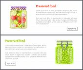 Preserved Food Banners, Tomatoes With Cucumber Slice And Grapes. Jar Of Vegetables Or Berries In Mar poster