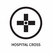 Hospital Cross Icon Isolated On White Background. Hospital Cross Icon Simple Sign. Hospital Cross Ic poster