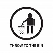 Throw To The Bin Icon Isolated On White Background. Throw To The Bin Icon Simple Sign. Throw To The  poster