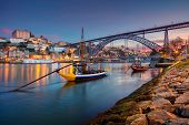 Porto, Portugal. Cityscape Image Of Porto, Portugal With Reflection Of The City In The Douro River A poster