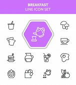 Breakfast Line Icon Set. Set Of Line Icons On White Background. Food Concept. Coffee, Tea, Bread. Ve poster