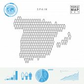 Spain People Icon Map. People Crowd In The Shape Of A Map Of Spain. Stylized Silhouette Of Spain. Po poster