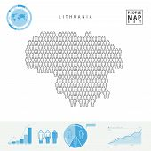Lithuania People Icon Map. People Crowd In The Shape Of A Map Of Lithuania. Stylized Silhouette Of L poster