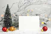 Blank Christmas Card. Blank Photo Frame And Christmas Decoration poster