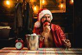 Drank Santa. Santa Drink Champagne. New Year Champagne. New Year Drinking. Boys, Were Better Off Dri poster