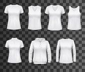 Women T-shirts, Sport Tank Tops Or Hoodies And Casual Polo Shirts. Vector White Womenswear Apparel M poster