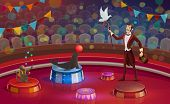 Circus Arena, Magician Conjurer Juggler Or Animal Handler With Dove On Stick, Trained Monkey And Sea poster