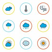 Climate Icons Colored Line Set With Frosty, Tempest, Sunlight And Other Windy Elements. Isolated Vec poster