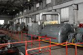 Turbogenerators In Old Plant. Steam Turbine Generator. Heat Engine To Convert Steam Energy Into Mech poster