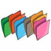 Set Folder Document Symbol. Vector Folder File. Hand Drawn Folder Icon. poster