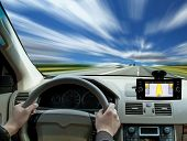 stock photo of car ride  - Fast driving on the freeway - JPG