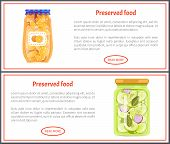 Preserved Food Banners With Oranges And Cucumbers. Vegetable In Marinade, Sweet Fruit Jam Inside Jar poster