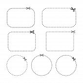 Oval Rectangle And Circle Coupons Vector Templates. Coupon Dashed And Dotted Line Template Set. poster