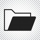 Folder Document Flat Vector Icon. Archive Data File Symbol Logo poster