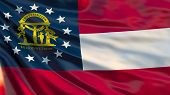 Georgia State Flag. Waving Flag Of Georgia State, United States Of America. poster