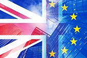 brexit concept - UK economy after Brexit deal - double exposure of flag and Canary Wharf business ce poster