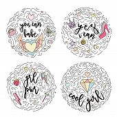 Doodle Motivation Set Text For Girls In Round Form Colored. Cute Fun Vector Motivation Quote With St poster