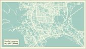 Bandar Lampung Indonesia City Map in Retro Style. Outline Map.  poster